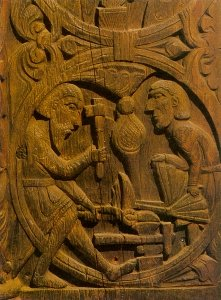 Regin reforging the sword for Sigurd
