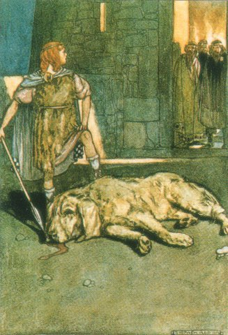 Setanata (Cu Chulainn) killed the hound of Culann