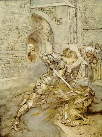 Sir Lancelot Fights a Dragon