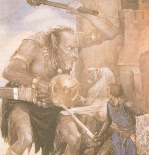 Yvain (Owain) and the Lion Against a Giant