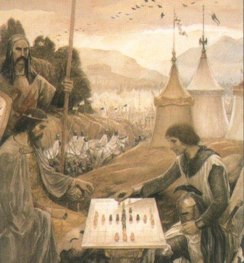 Arthur and Owain Playing Gwyddbwyll