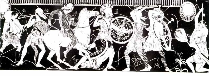 Battle scene of the Amazons