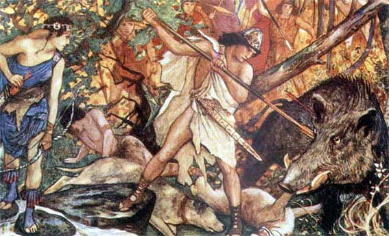 Atalanta and Meleager in the Calydonian Boar Hunt