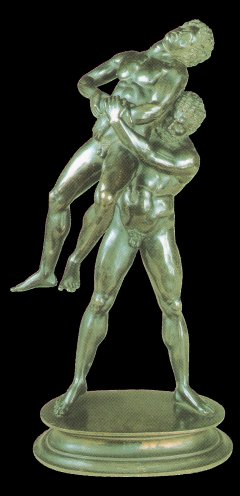Heracles wrestling with Antaeus