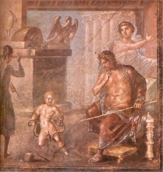 Hercules strangles the serpents