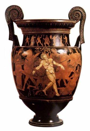 A bronze urn...